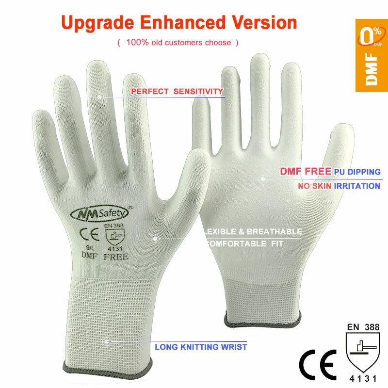 NMSAFETY 12 paia guanti protettivi da lavoro uomo guanti da lavoro di sicurezza in Nylon o poliestere flessibili forniture di sicurezza professionali
