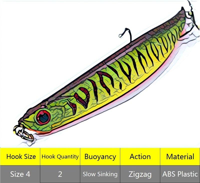 กะพริบ 11.6g 11.4 ซม.Bend Body สไตล์ Dying เช่น Minnow ช้าจมใต้ผิว Muskie เหยื่อ Twitch เหยื่อตกปลา W625
