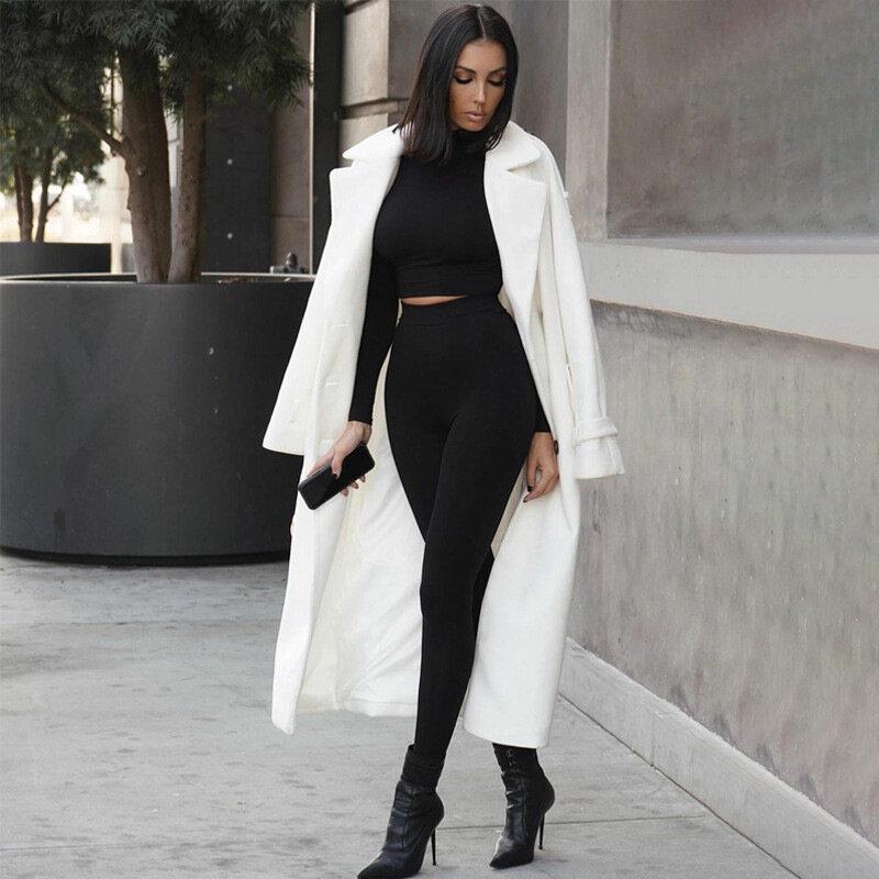 ملابس رياضية للنساء من قطعتين بتصميم خريفي متين ملابس رياضية عالية الخصر قابلة للتمدد ملابس علوية قصيرة وسروال ضيق ملابس مطابق للموضة