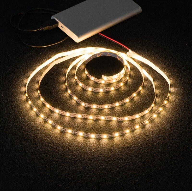 배터리 5V USB LED 스트립 2835 DC LED 조명 유연한 50CM 1M 2M 3M 5M 흰색 따뜻한 TV 배경 조명 야간 조명