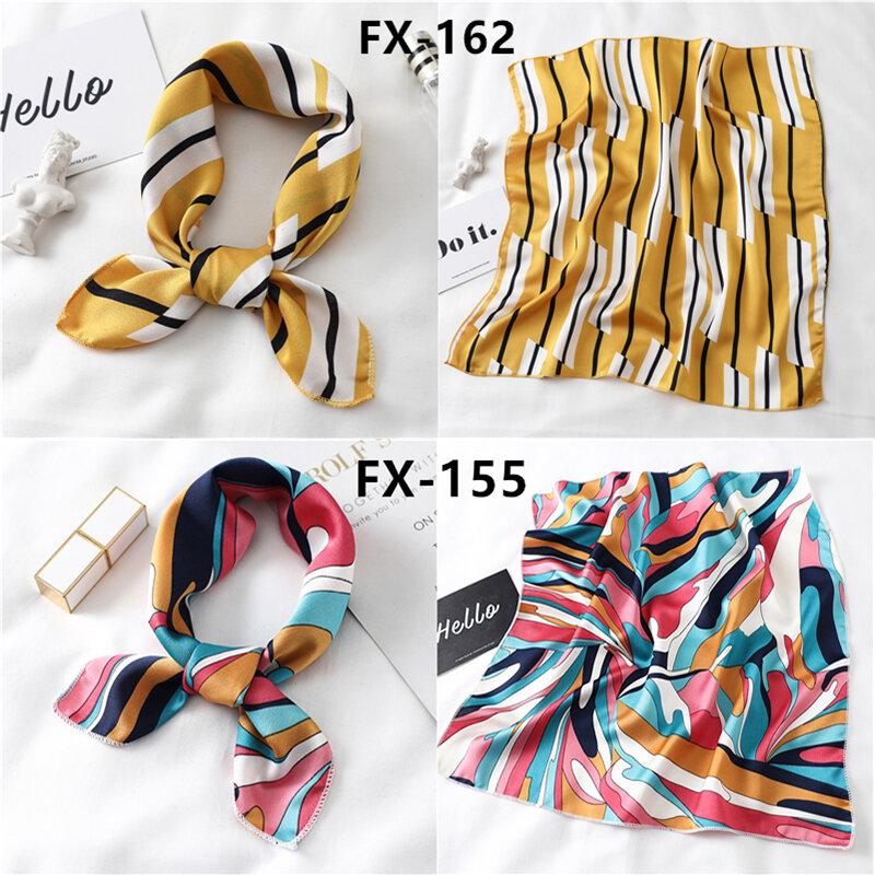 pañuelo pelo Las mujeres pequeño pañuelo de seda cuadrado Foulard mujer elegante mujer de pañuelo, pañuelo de cuello pelo corbata bufandas chales