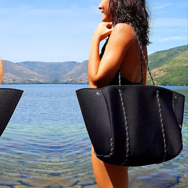 Bolso de mano grande de tela de buceo para mujer, bolsa de mano de playa, Yoga, gimnasio, informal, pequeño, Cartera compuesta, bolsos de viaje escolares