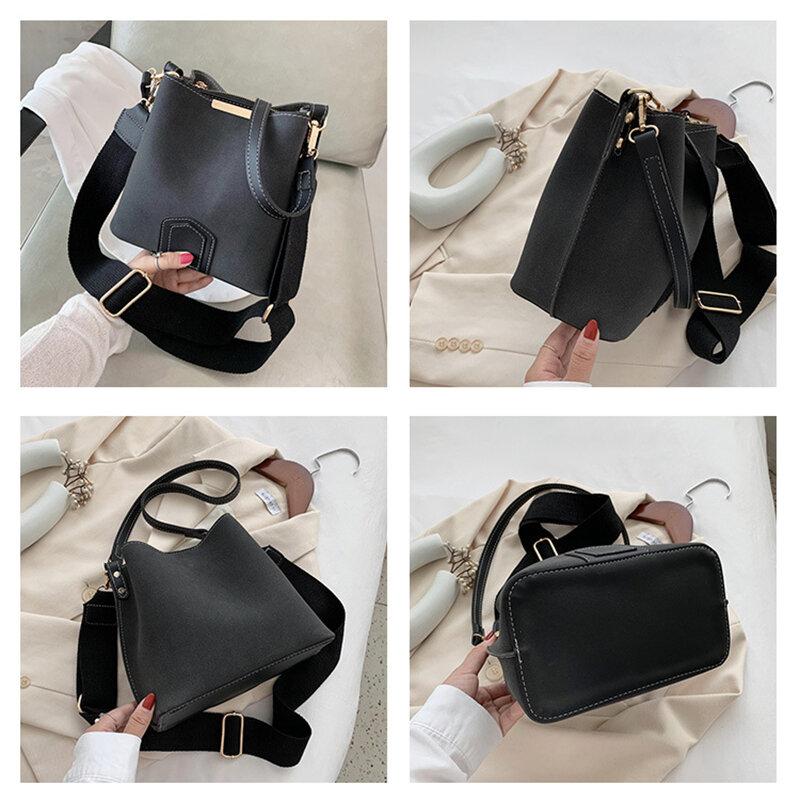 High Quality Nubuck PU Leather Messenger Bags For Women Retro Wide Strap Shoulder Bucket Bag Luxury Handbags Women Bags Designer