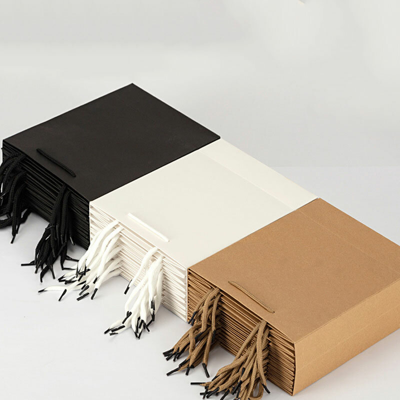 2021 Shopping Kraft Paper Bag Custom Clothing Handbag Milk tea Takeaway Packaging Logo Gift Festival Advertising tote Bags