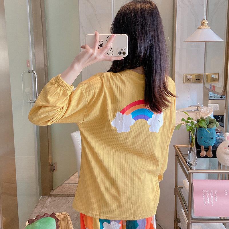Pijamas de estilo coreano para mujer, ropa de dormir de algodón puro con arcoíris, traje de dos piezas de manga larga, amarillo fresco, primavera y otoño
