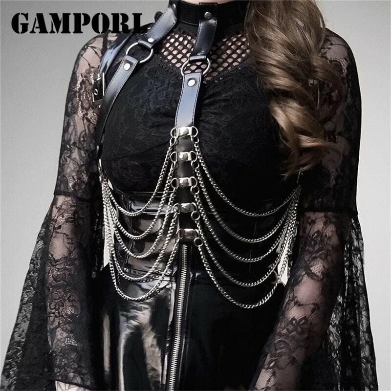 GAMPORL Sexy Women Leather Harness Erotic Suspender Lingerie Thigh Garters Belt Bondage Straps Harness Bra Belts Leg Garter Goth