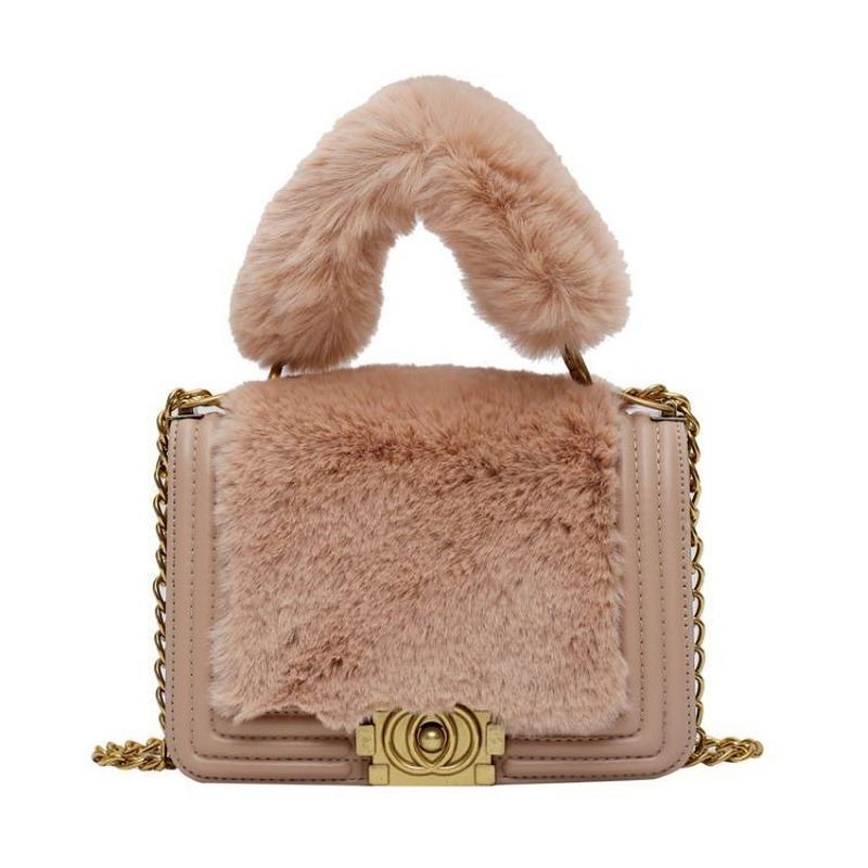 Fashion Plush Pu Leather Splice Women Shoulder Bag Designer Lock Chains Crossbody Bags for Women Small Square Plush Handbags New