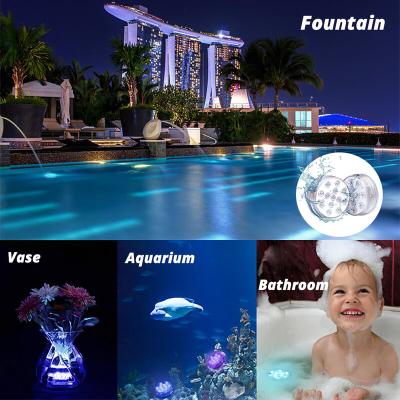 LED 야외 수영장 조명 원격 제어 RGB 다이빙 조명, 휴대용 수중 야간 조명, 분수에 적합