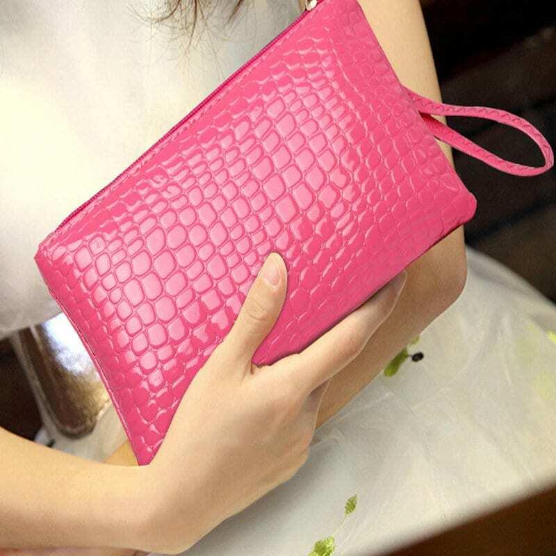 여성용 지갑 동전 지갑 Pu 클러치 백 손목 밴드 지갑 지퍼 카드 휴대폰 화장품 가방 심플한 단색 선물