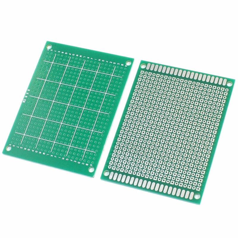 Placa de circuito Universal impresa para soldadura Arduino, prototipo de cobre de un solo lado, 8x12cm, 5 uds.