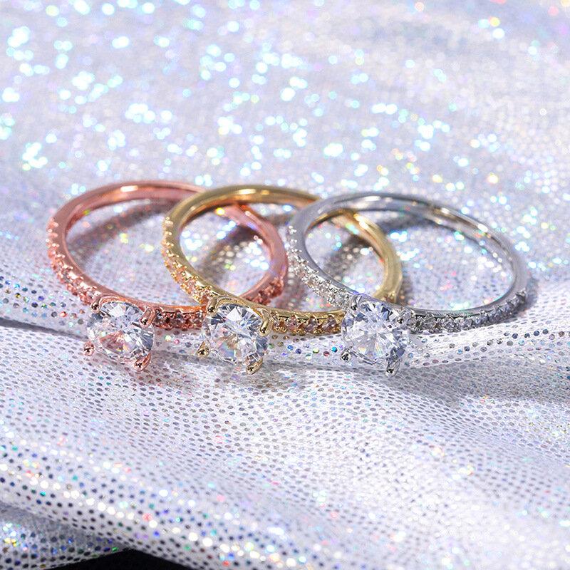 الأوروبية والأمريكية بسيطة أزياء السيدات سبيكة محاكاة خاتم الماس الترفيه والترفيه المشاركة مأدبة الزفاف