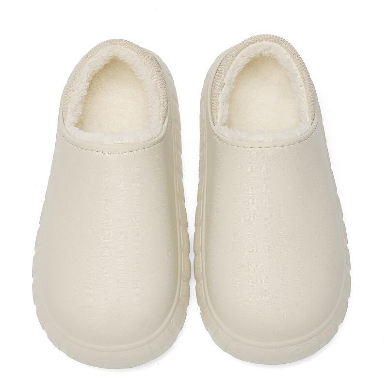 YISHEN-Zapatillas de invierno para hombre, zapatos cálidos impermeables, de felpa antideslizante, de algodón, para interior y exterior, cómodas, para casa y otoño