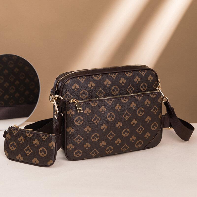 Bandolera con estampado de moda para hombre, bolso de hombro cruzado clásico de cuero negro con cremallera, accesorios múltiples