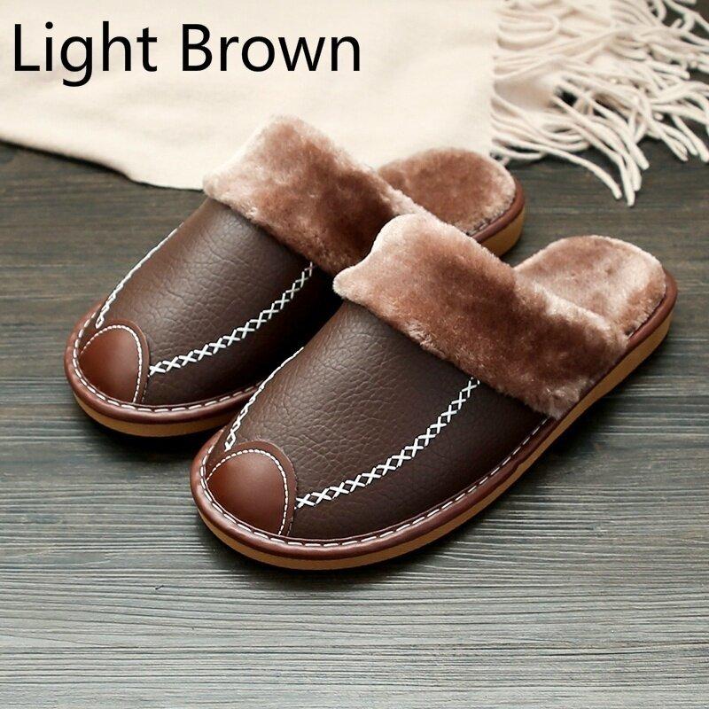 Pantoufles en cuir PU pour hommes et femmes, nouvelles pantoufles d'hiver noires, pantoufles d'intérieur chaudes, chaussures de maison imperméables pour femmes