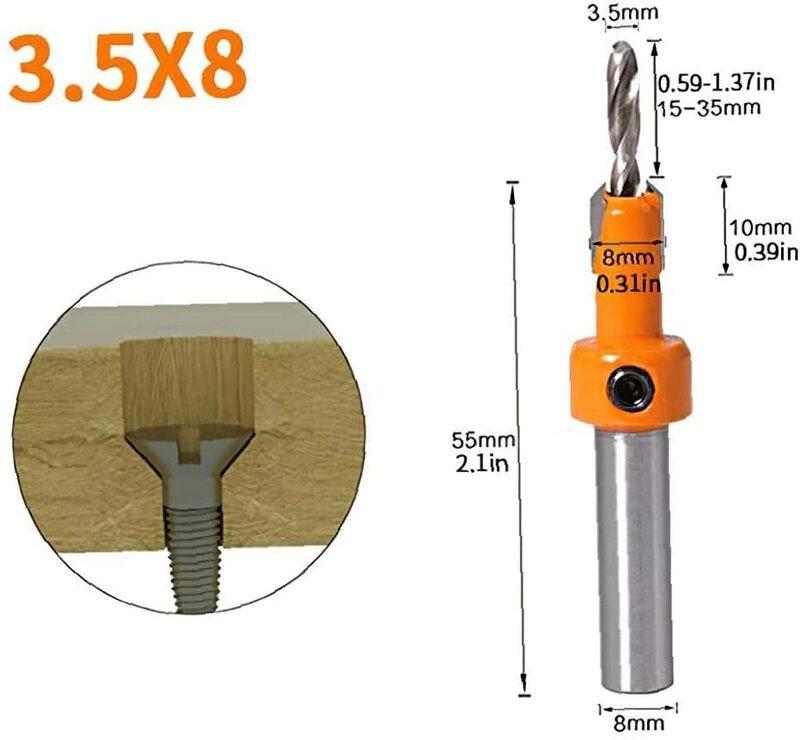 8mm Schaft HSS Senker Bohrer Set mit Stop Halsbänder Holzbearbeitung Senker Bit Loch Puncher Werkzeuge 5PCS