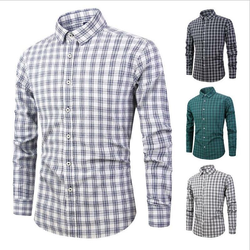 Primavera Y Verano Casual Sin Cuello A Cuadros Camisa Delgada De Manga Larga Camiseta Camisa De Hombre