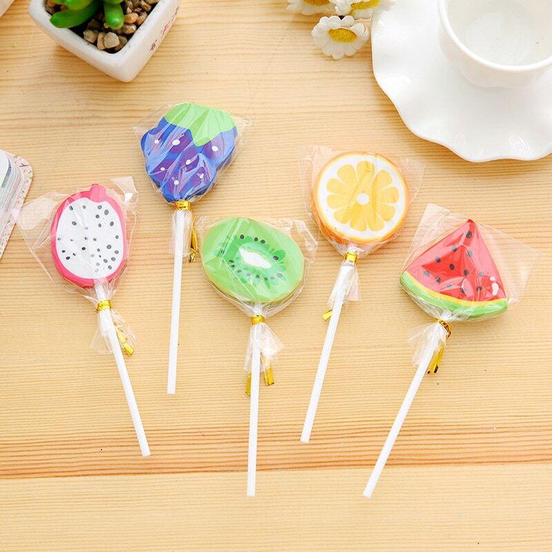 1pc creativo forma di frutta lecca-lecca carino gomma studente cancelleria gomma materiale scolastico all'ingrosso