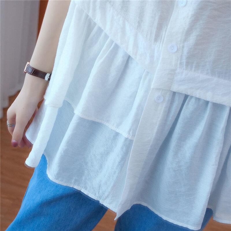 2021 NOVEDAD DE VERANO suelto Casual volante de Color sólido de cuello redondo blusa de verano delgada moda Simplicidad-breasted