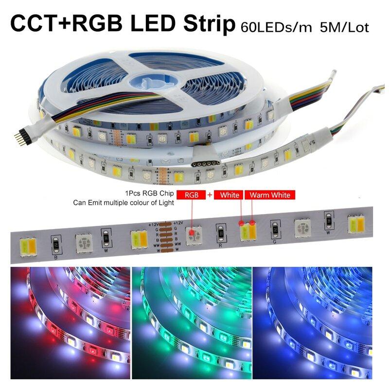 LED 스트립 유연한 라이트 테이프 방수 RGB 스트립 5050 DC12V 60leds/m 화이트 따뜻한 화이트 블루 그린 레드 5 메터/몫