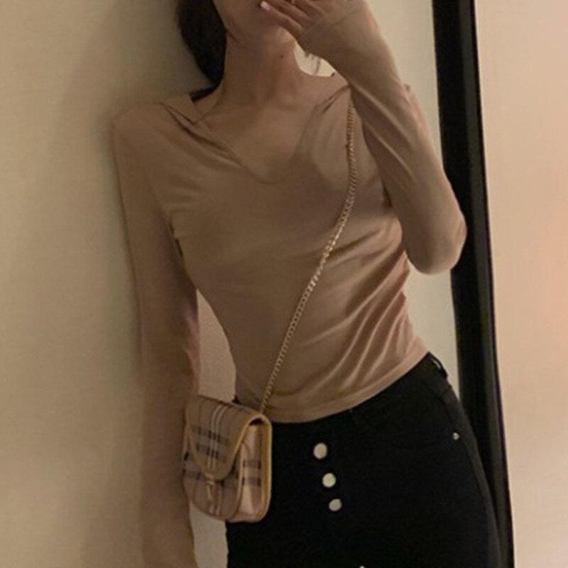 XUXI Women Fashion Shirt Korean Thin Slim Was Thin Retro Solid Color Hooded Long Sleeves Blouses Spring Autumn 2021 E708