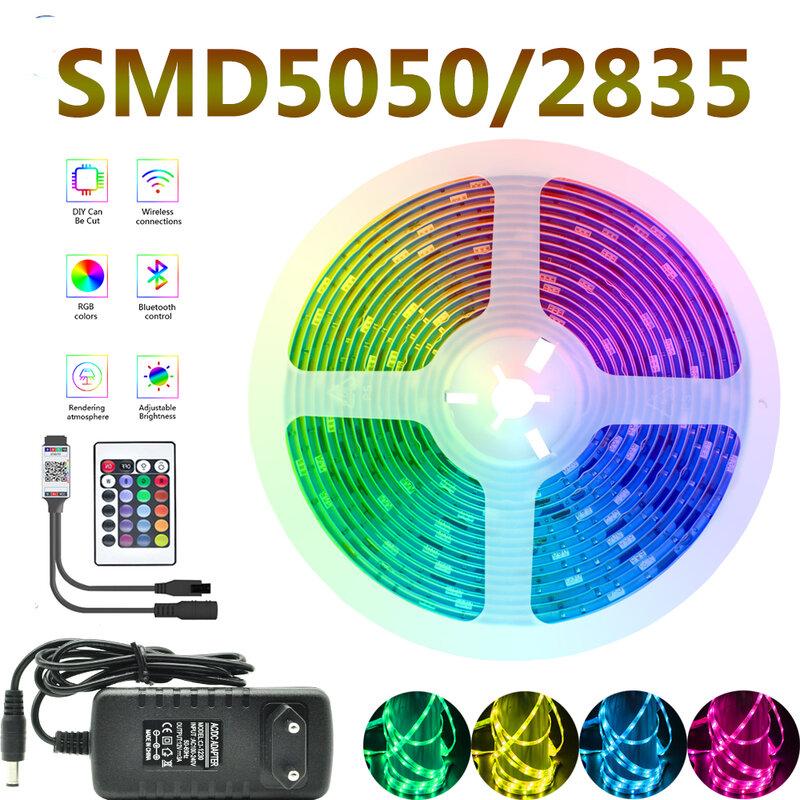 LED 빛 스트립 조명 방수 블루투스 제어 WIFI RGB 5050 조명 원격 리본 5M 10M 20M 문자열 테이프 다이오드 배경