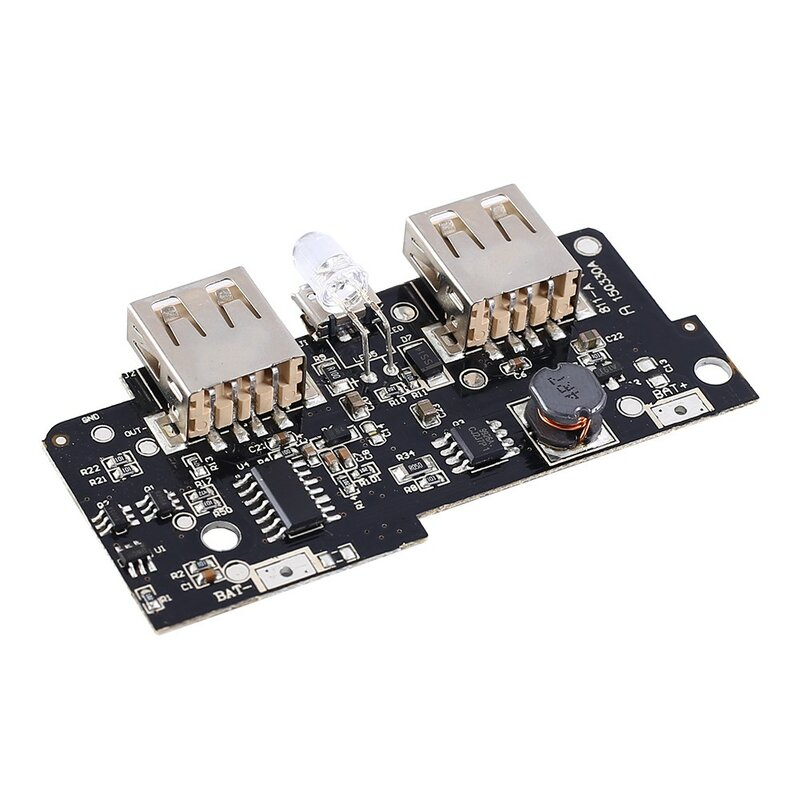 Módulo cargador de Banco de energía de 5V y 2A, placa de circuito de carga, módulo de fuente de alimentación Boost 2A, salida USB Dual, entrada 1A