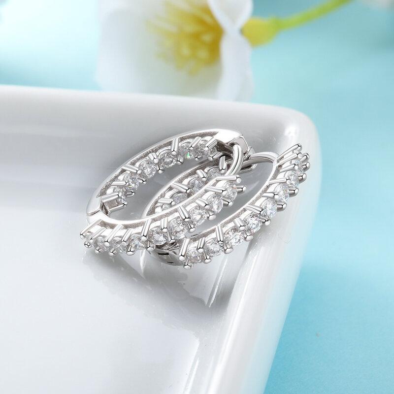 العصرية 925 الاسترليني أقراط الحلقة الفضية للنساء تألق زركون مجوهرات الزفاف هدية للبنات (JewelOra EA101739)