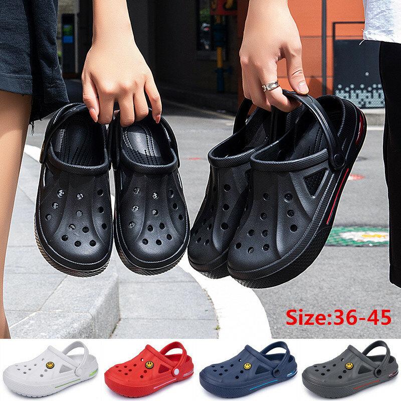 Newbeads – sandales à crocs pour hommes et femmes, chaussures à trous, pantoufles de maison, d'été, ajouré, boucle de visage souriant, plage, plates