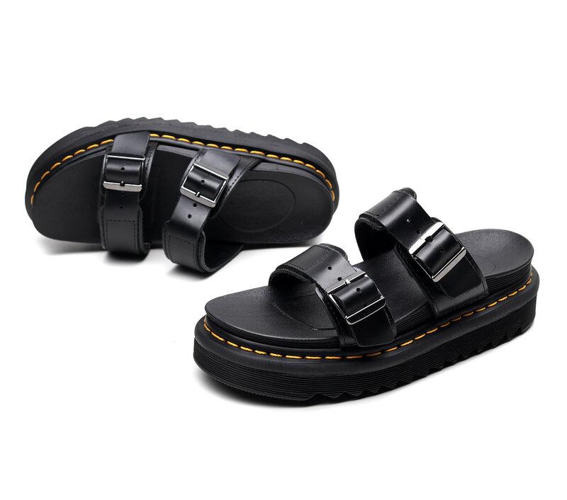 Tongs antidérapantes en cuir véritable pour femmes, sandales de plage d'extérieur, pantoufles d'été, chaussures à plateforme, 2021