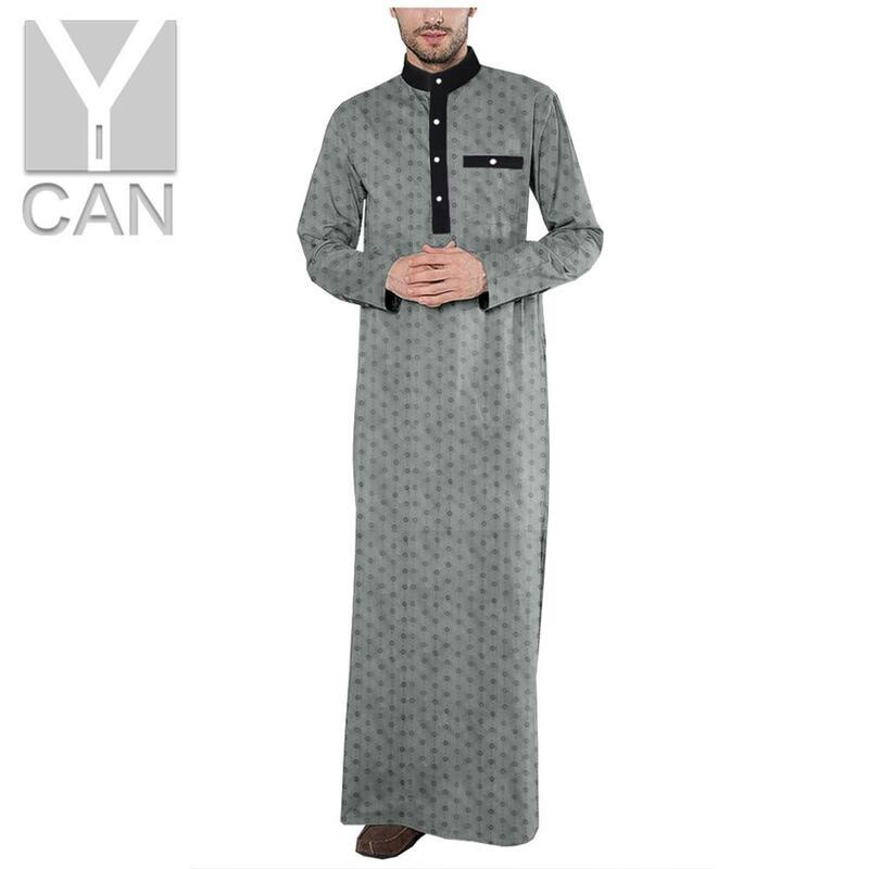 Y Can Hombres Islámica árabe Kaftan Moda Musulmana De Manga Larga Mantos De Abaya Hombres Ropa Traje De Jubba Thobe De Y201004 Bestdealplus