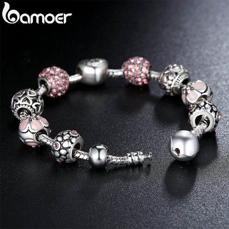BAMOER bracciale e bracciale in argento placcato con amore e perline di fiori gioielli da sposa per donna 4 colori 18CM 20CM 21CM PA1455