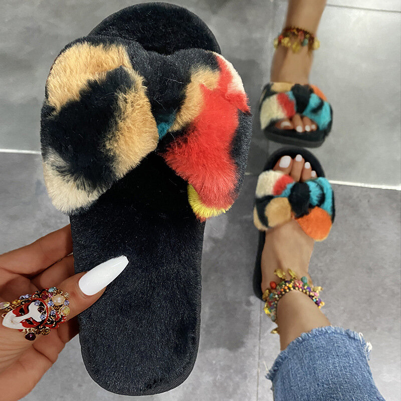 Slipper Tie Dye Plush Bow Summer Casual Woman Slide Color Fashion Women Flat New Comfortable Female Shoe Plus Size 2021 Ladies