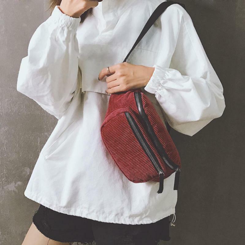 Buylor sztruks piterek saszetka biodrowa dla kobiet nowy modny pasek torba torba na klatkę piersiowa etui projektant Banana nerka telefon torba podróżna