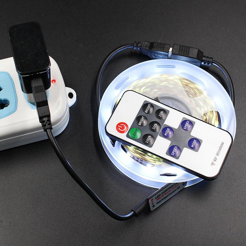 Tira de luz Led USB 2835 de 5 V, cinta de diodos con controlador de luces de 11 teclas, 1 - 5 M, 5 V, no impermeable