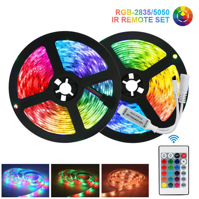 방수 LED 스트립 조명 WiFi 블루투스 Luces LED RGB5050 SMD2835 유연한 테이프 다이오드 DC12V 5M10M15M 원격 제어 조명