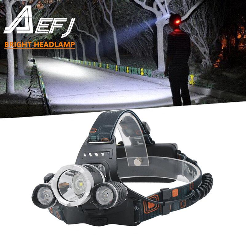 AEFJ 5000LM 5 * LED T6 + 2R5 LED Phare Lampe Frontale éclairage Lumière Lampe De Poche Torche Lanterne De Pêche