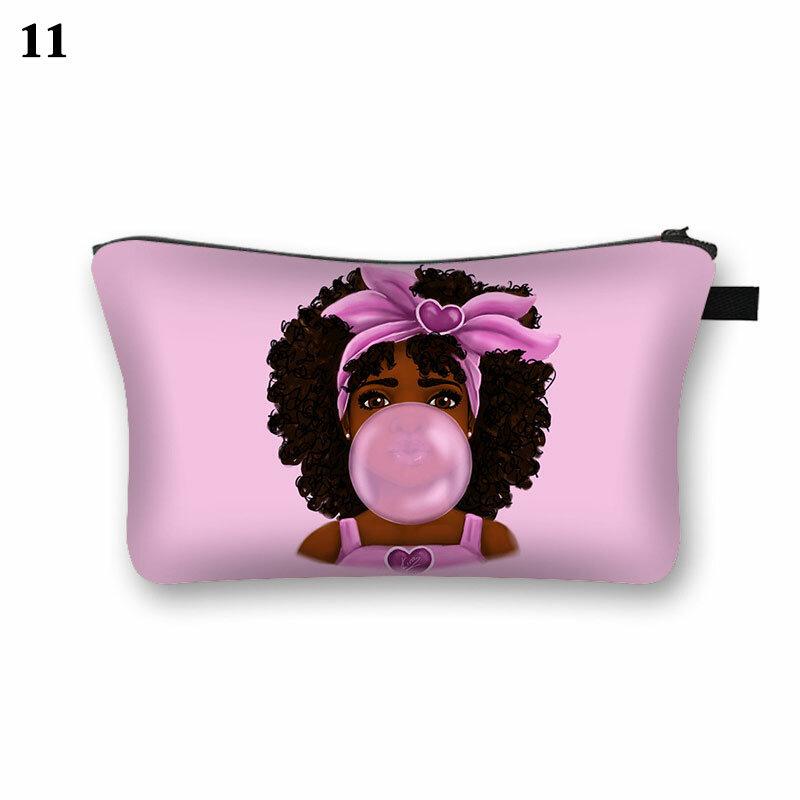 여성 여행 화장품 가방 귀여운 아프리카 소녀 인쇄 화장품 케이스 패션 메이크업 가방 세면 도구 가방 주최자 가방 파우치