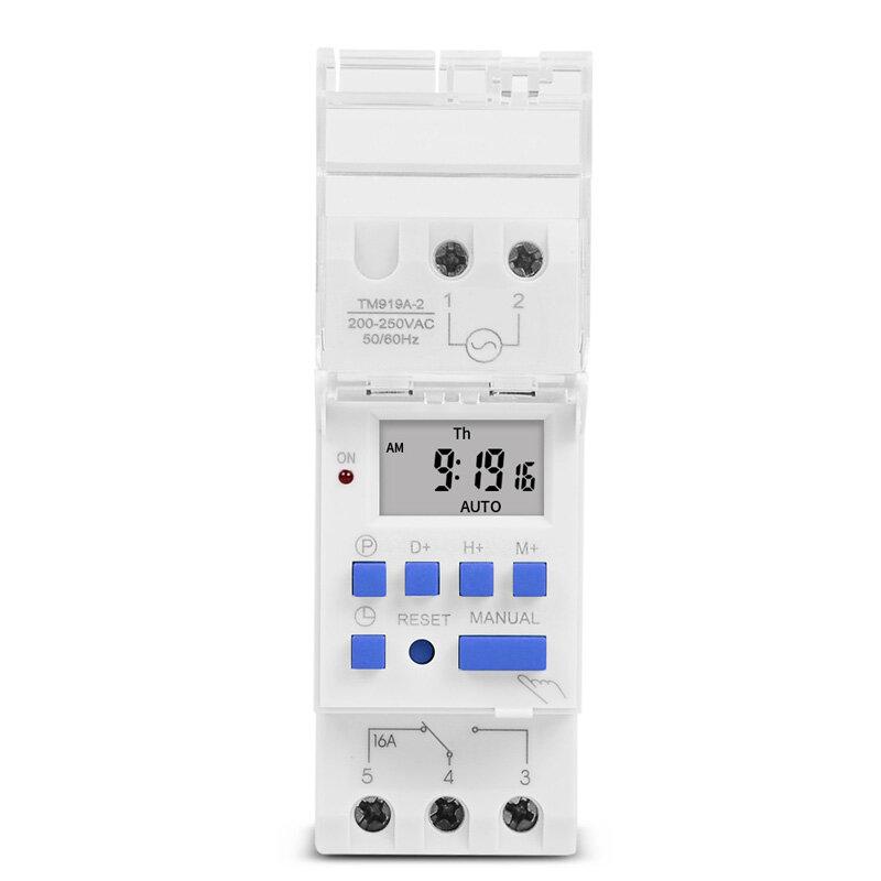 SINOTIMER-Interruptor de tiempo Digital programable, 7 días, Control de temporizador, CA 220V 230V 16A, montaje en Riel Din