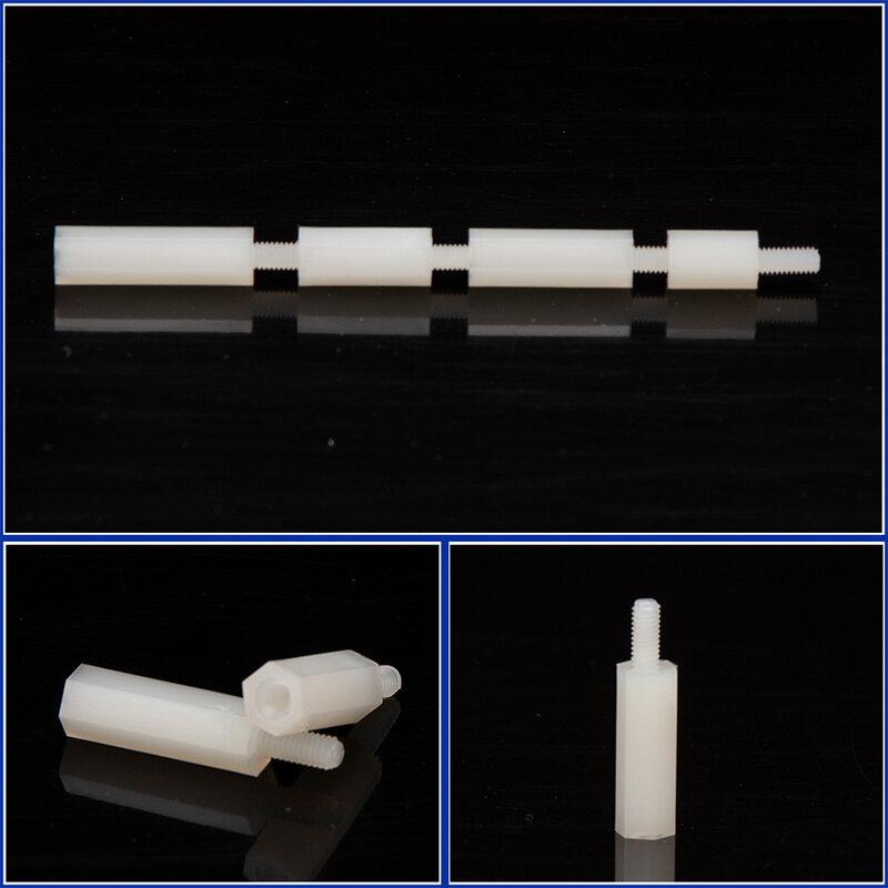 M2 M2.5 distanziale distanziatore in Nylon esagonale bianco da maschio a femmina colonna a testa piatta viti di spaziatura in plastica di Nylon lunghezza dadi 5-25mm