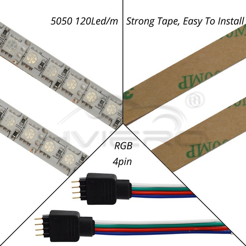 5m 300 LED 5050 SMD DC 12V 방수 IP65 유연한 Led 빛 60LEDs/m 화이트 RGB 파티 빛 유연한 빛 5050 LED 스트립