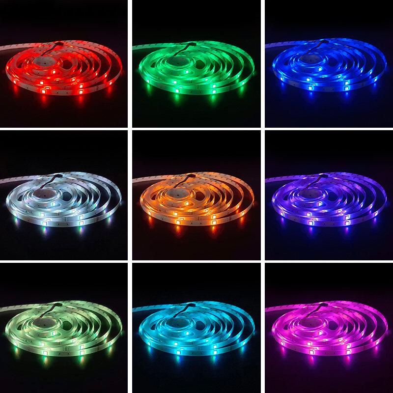 Tira de luces LED con Bluetooth 1M-30 5050, cinta Flexible de luces RGB de 5V, USB, para pantalla de TV de escritorio, cinta de diodos de retroiluminación