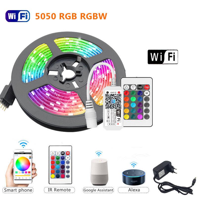 5M 10M 15M RGBW RGBWW ไฟ LED Strip RGB 5050 60LEDs Luces Led Light Strip DC12V ยืดหยุ่นริบบิ้น IR WiFi Controller + อะแดปเตอร์ EU