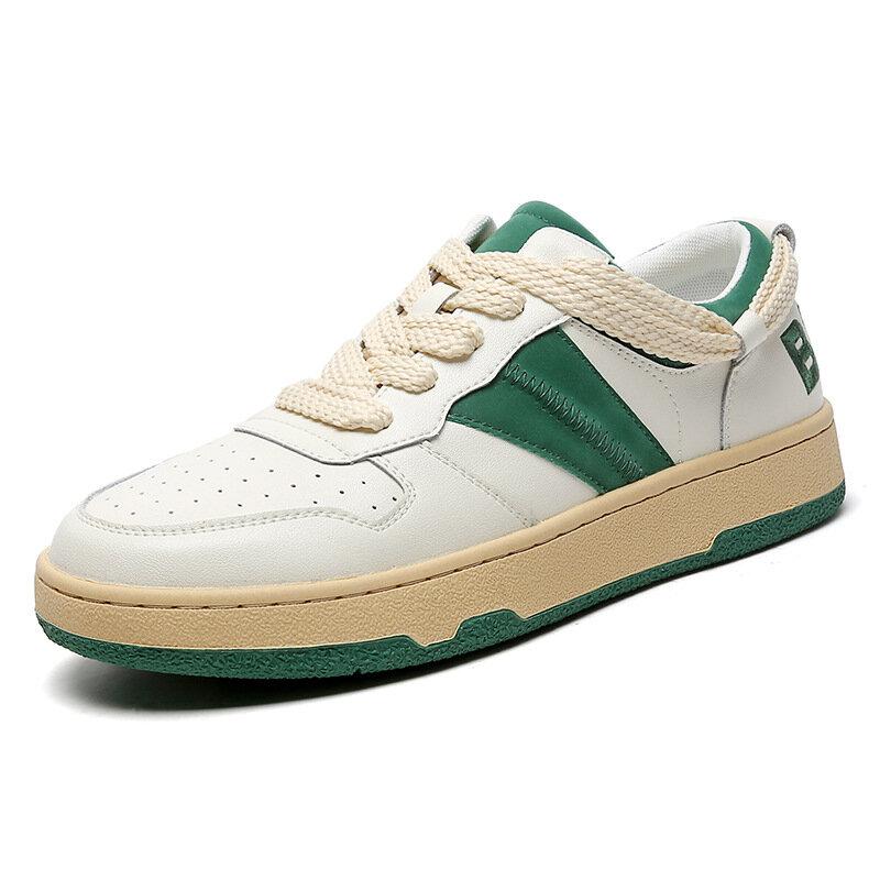 موضة أحذية رياضية من الجلد للرجال الأبيض الدانتيل يصل حذاء كاجوال مسطح المرأة فلكنيز أحذية منخفضة قطع الأصلي زوجين الأحذية