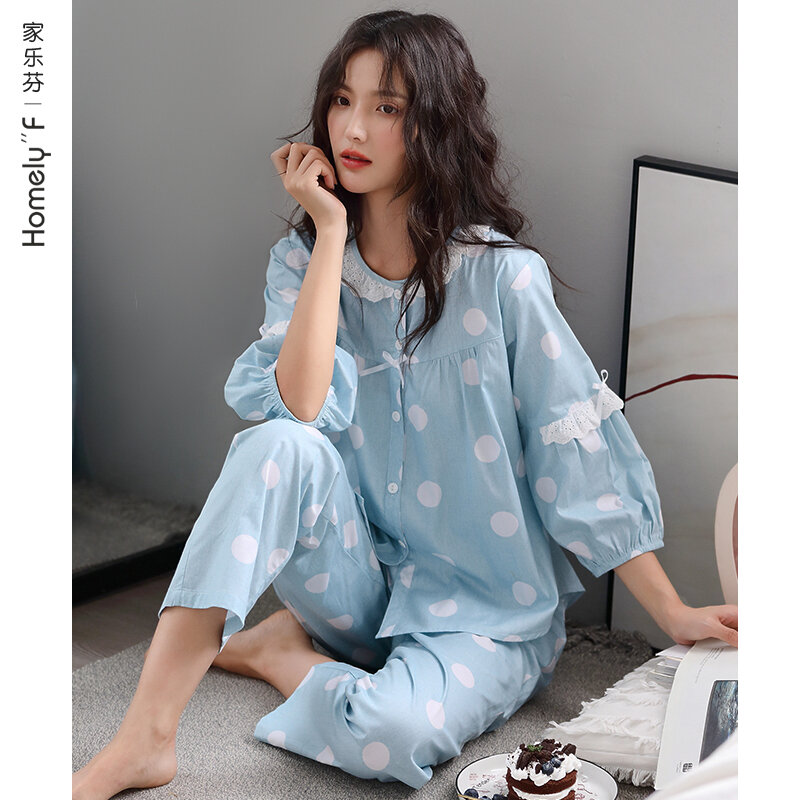 Pajamas Women's Spring and Summer Long-Sleeved Cotton Home Wear Cotton Air Conditioning Clothes Spring and Autumn Thin Cute Suit