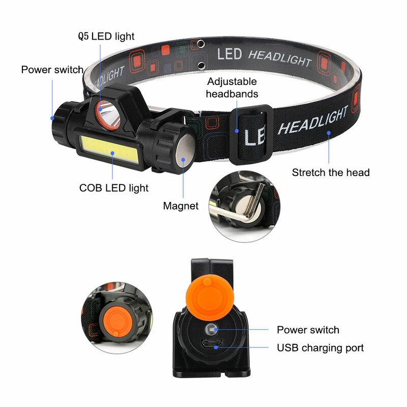 Mini linterna portátil Q5 + COB Led, linterna frontal potente con batería integrada 18650, para exteriores, Camping, pesca, atenuación continua