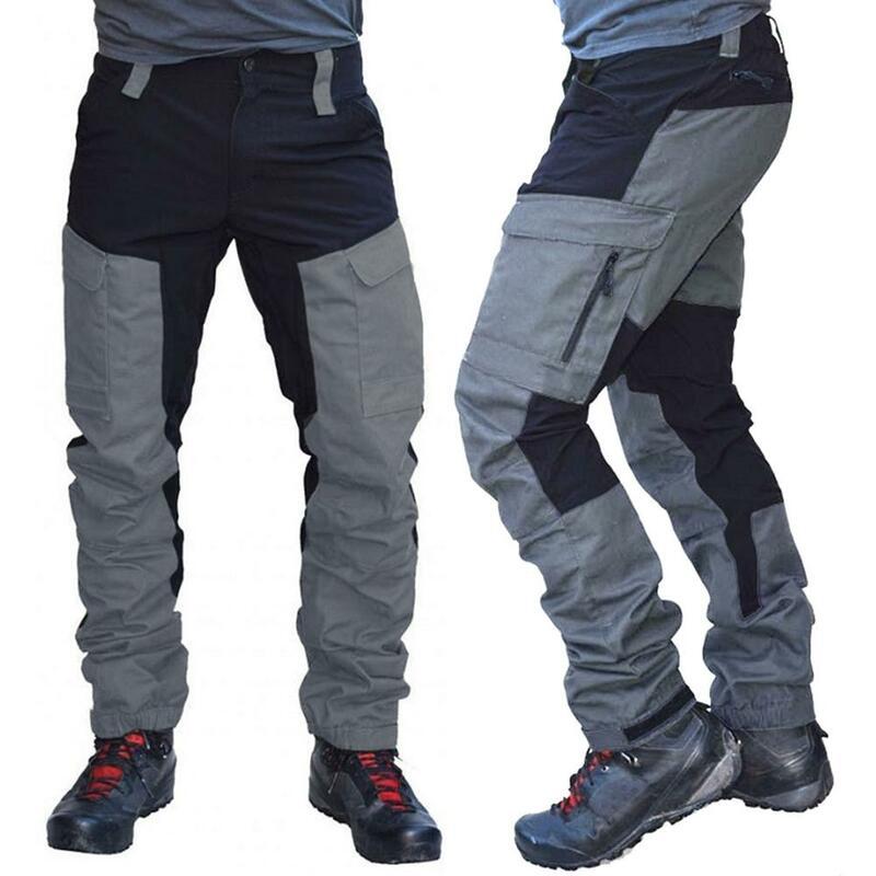 Pantalones Largos Tipo Cargo Deportivos Con Varios Bolsillos Para Hombre Pantalones De Trabajo Tacticos Pantalones Secos Rapidos Bloque De Color A La Moda Pantalones