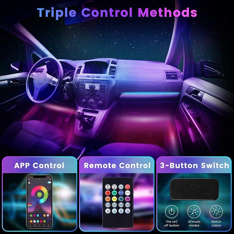 Bombillas de decoración para el Interior del coche, tira de luces LED RGB 4 en 1 con Control por aplicación USB y Bluetooth, múltiples modos