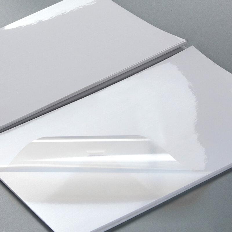 ورق لاصق قابل للطباعة للطابعة النافثة للحبر مقاوم للماء شفاف لوح فينيل لاصق ذاتي ورقة A4 ورقة كاملة