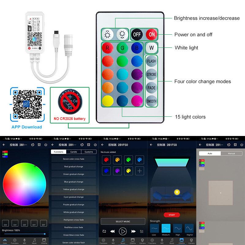 Tira de Luces LED RGB 5050 con Control de diodos + adaptador, cinta Flexible, resistente al agua, 20M, 30M, 2835, WIFI, Bluetooth