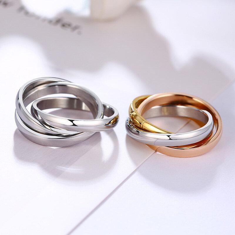 Vnox الكلاسيكية 3 جولات حلقة مجموعات الفولاذ المقاوم للصدأ للنساء الزفاف المشاركة الإناث فنجر مجوهرات